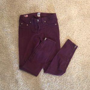 True religion purple skinny jeans